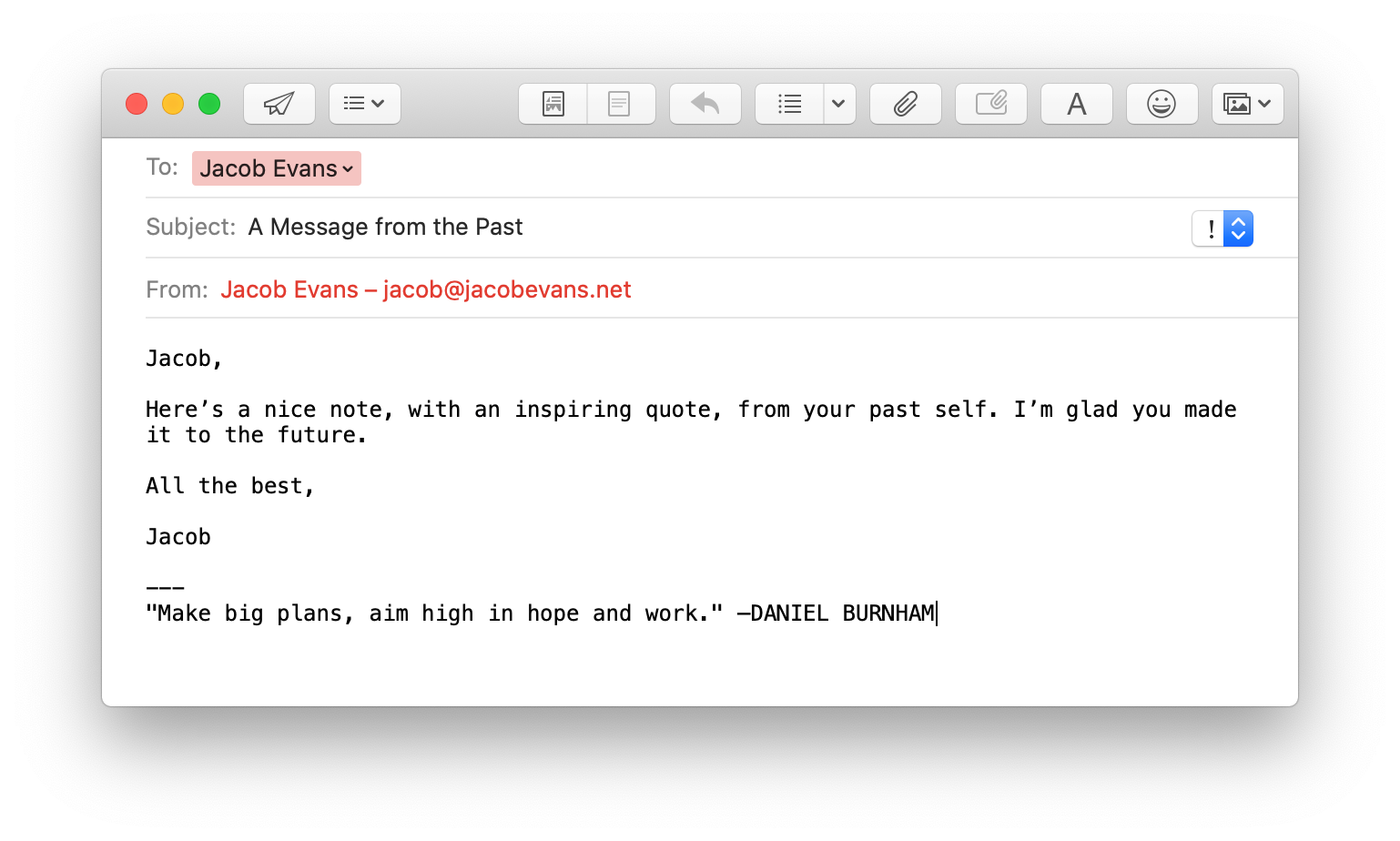 Example email with signature containing a random quote.